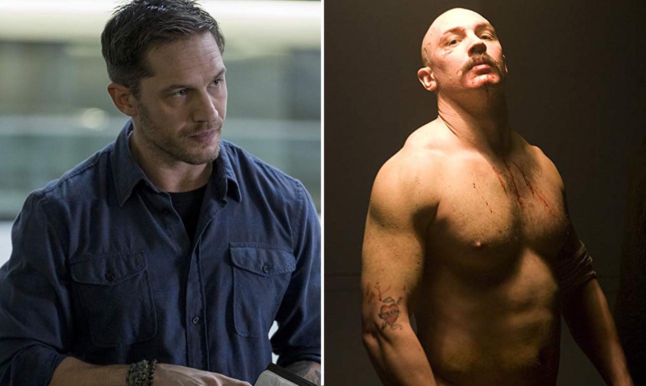 Ο Τομ Χάρντι αριστερά στο «Venom» και δεξιά αγνώριστος στο «Βronson», για το οποίο δεν άλλαξε μόνο σωματότυπο, αλλά και χροιά φωνής και βλέμμα και τα πάντα