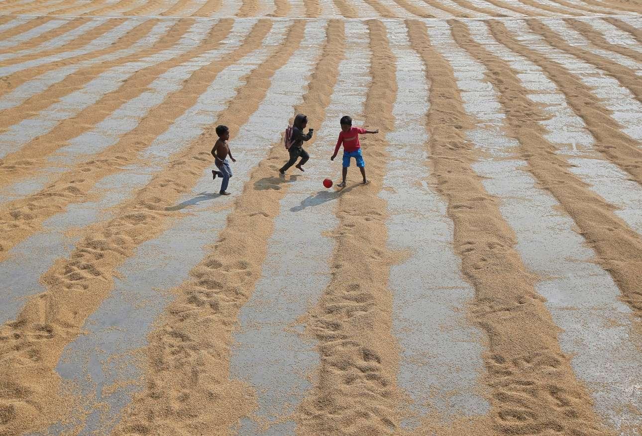 Πέμπτη, 31 Ιανουαρίου, Ινδία.  Παιδιά παίζουν σε χωράφι στα περίχωρα της Καλκούτας