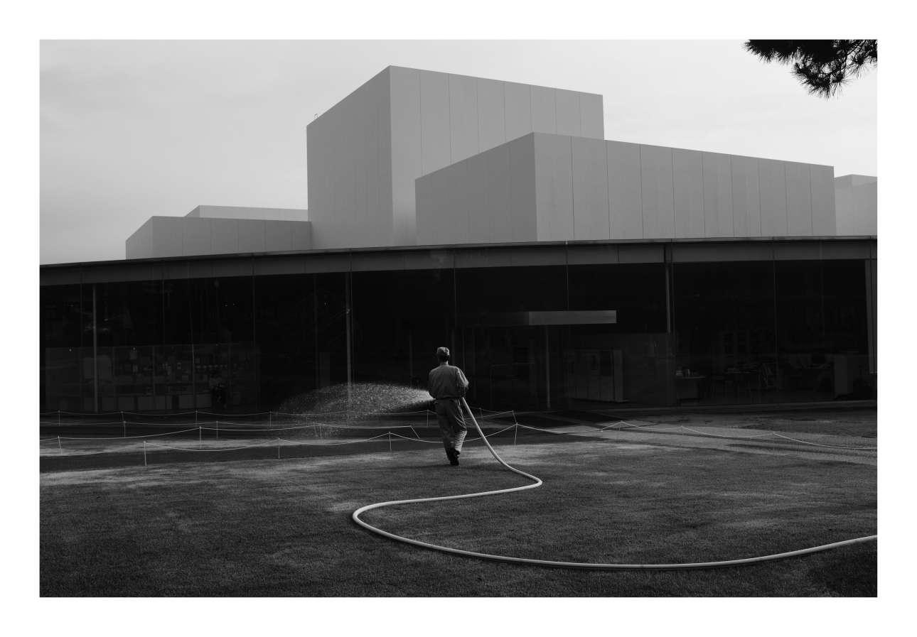 Πρώτη θέση στην κατηγορία Αρχιτεκτονική. Υπάλληλος μουσείου στην Καναζάβα της Ιαπωνίας ποτίζει το γκαζόν κατά τη διάρκεια καύσωνα