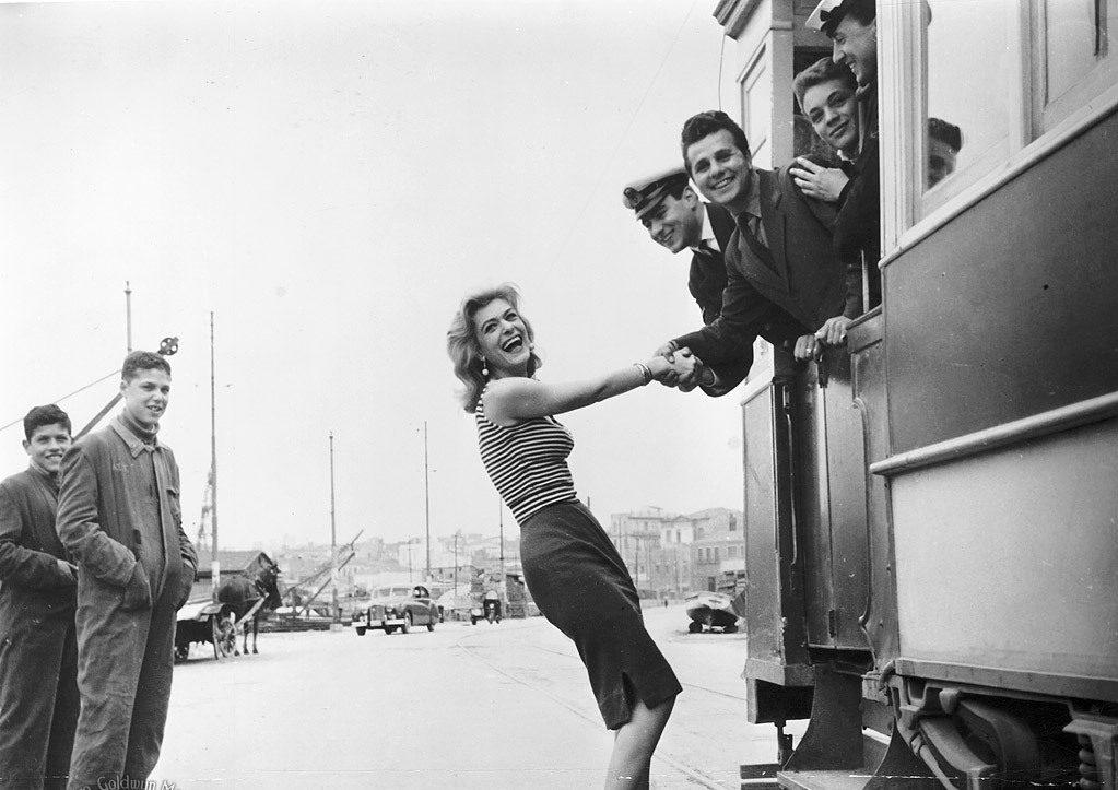 Στα γυρίσματα του «Ποτέ την Κυριακή» (1960)