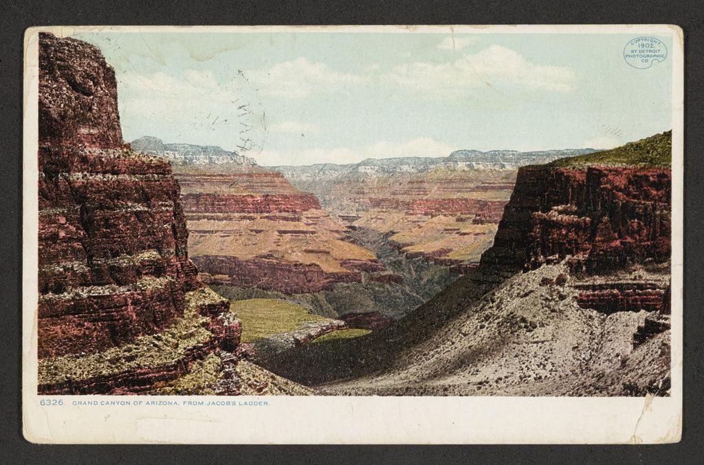 Εγχρωμη καρτ ποστάλ του 1902 από το Γκραντ Κάνιον