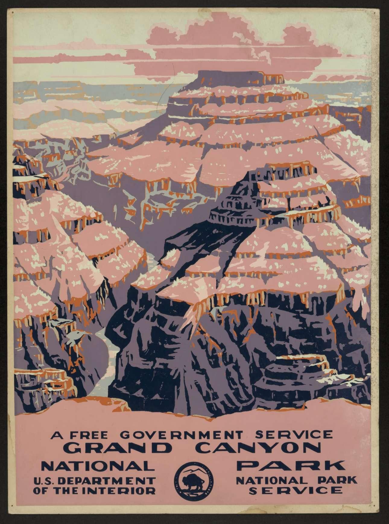 Αφίσα - δημιουργία της Υπηρεσίας του Εθνικού Πάρκου Γκραντ Κάνιον, η οποία κυκλοφόρησε το 1938