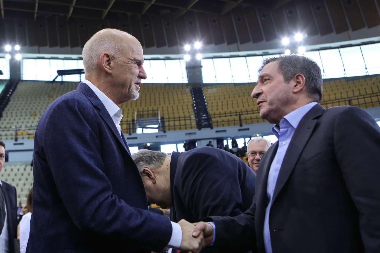 Ο πρώην πρωθυπουργός Γιώργος Παπανδρέου με τον δήμαρχο Αθηναίων Γιώργο Καμίνη