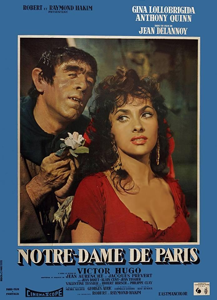 H αφίσα της ταινίας «Η Παναγία των Παρισίων» (1956) με τους Αντονι Κουίν και την Τζίνα Λολομπρίτζιτα