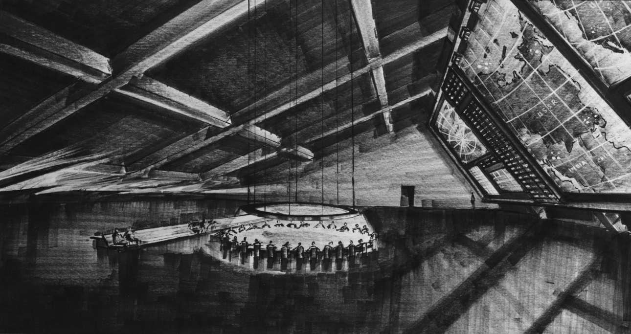 Από τη σύλληψη στην δημιουργία: το τελικό σχέδιο του σκηνογράφου Κεν Ανταμ για την Αίθουσα Πολέμου στην ταινία «SOS Πεντάγωνο καλεί Μόσχα»