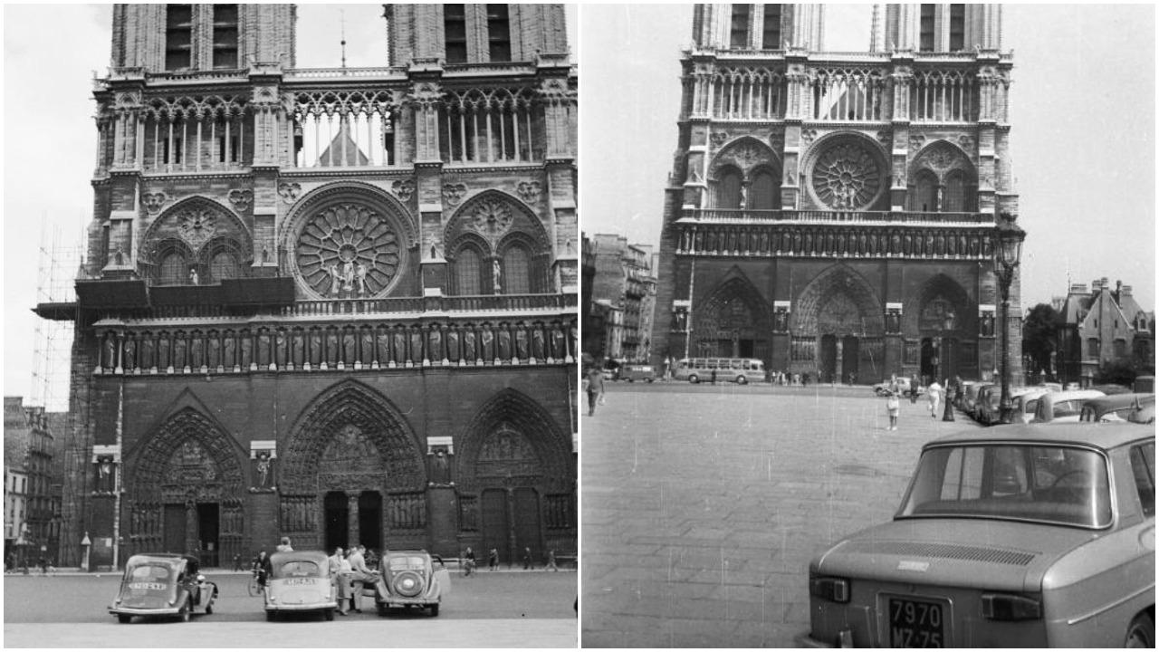 1938 και 1964. Τα αυτοκίνητα έχουν αρχίσει να κυριαρχούν πέριξ του ναού –μέχρι να αποβληθούν