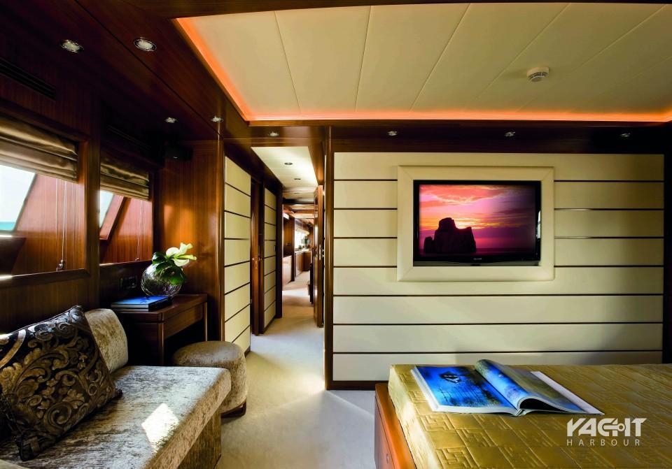 H επίπεδη τηλεόραση στο master υπνοδωμάτιο, όπως φαίνεται από το κρεβάτι