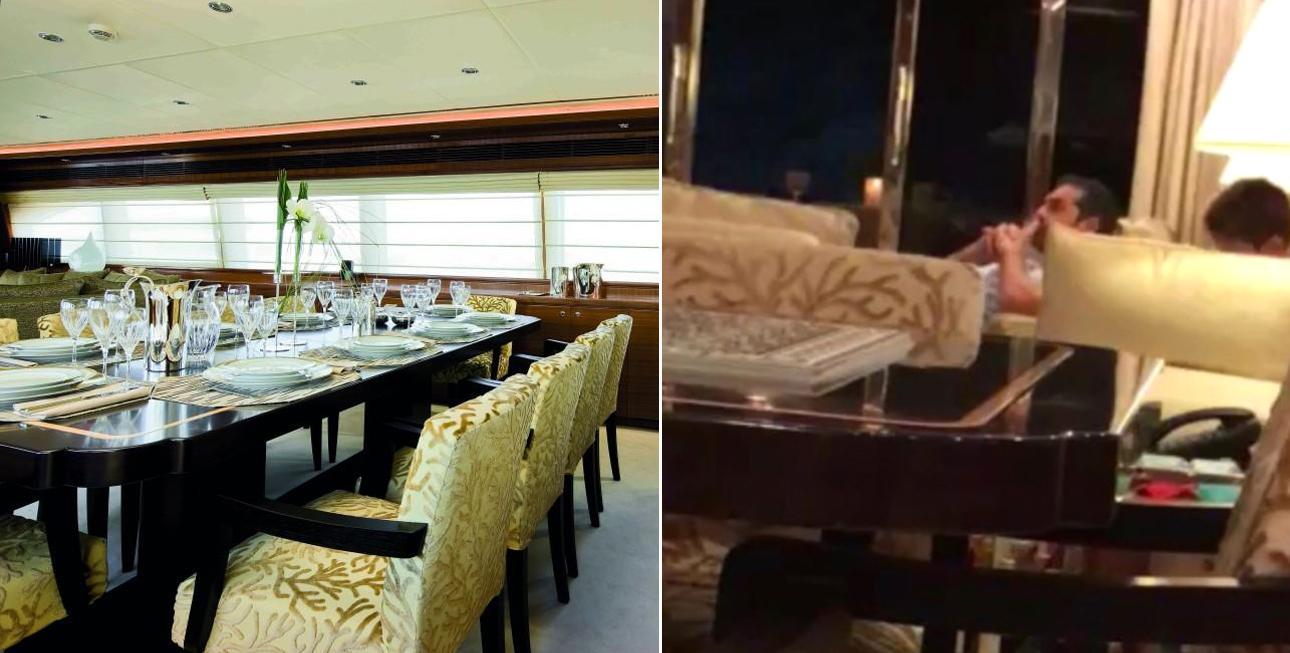 Η τραπεζαρία στο εσωτερικό του σκάφους. Η ταπετσαρία των καθισμάτων είναι ίδια με αυτή που απεικονίζεται στη φωτογραφία του Πρωθυπουργού στο εσωτερικό του Odyssey London. Όπως φαίνεται, η φωτογραφία με τον Αλ. Τσίπρα τραβήχτηκε από την τραπεζαρία