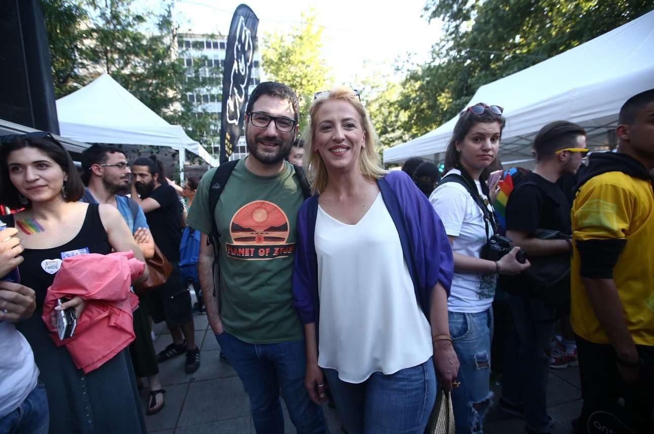 Ο Νάσος Ηλιόπουλος και η απερχόμενη περιφερειάρχης Αττικής Ρένα Δούρου, η οποία κάθε χρόνο συμμετέχει στην εκδήλωση