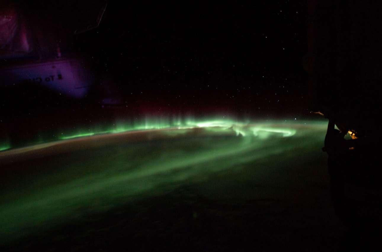 12 Απριλίου 2019.  Το Βόρειο Σέλας φωτογραφήθηκε από τον Διεθνή Διαστημικό Σταθμό, όταν βρισκόταν στο ύψος του Ινδικού Ωκεανού, νότια της Τασμανίας