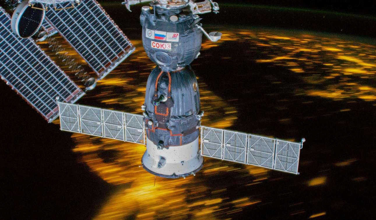 16 Μαρίου 2019. Η άφιξη του διαστημικού σκάφους Soyuz MS-12 στον Διεθνή Διαστημικό Σταθμό, τη στιγμή που βρίσκεται πάνω από τις βορειοανατολικές ΗΠΑ