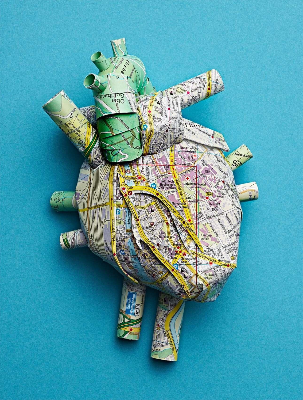 Η ανθρώπινη καρδιά φτιαγμένη από δρόμους, κανάλια και γειτονιές της Ζυρίχης