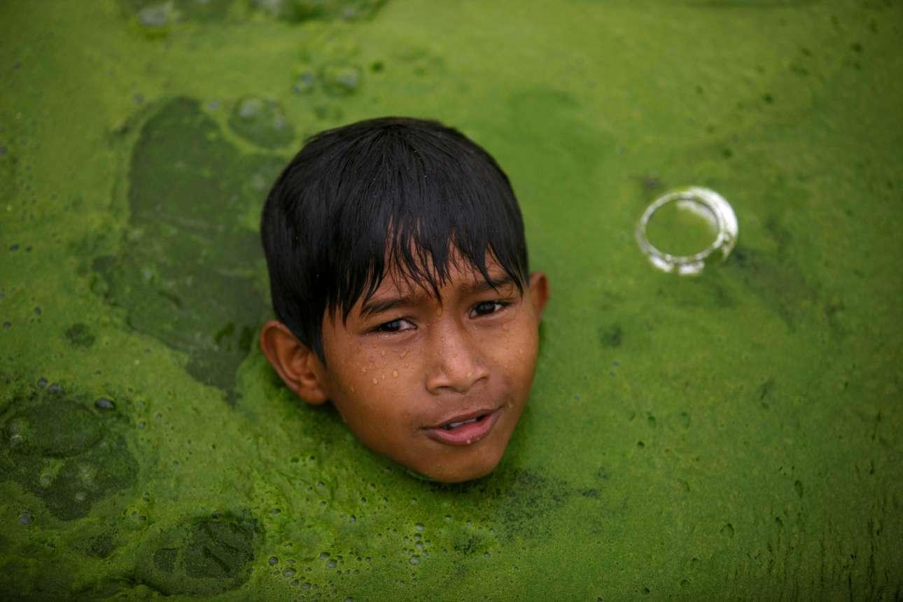 Eνα αγόρι, μάλλον δυσαρεστημένο, κολυμπάει σε λίμνη καλυμμένη από άλγη, στο Νεπάλ