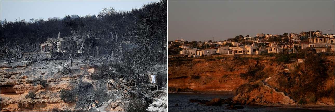 Μια καμένη πλαγιά μετά τη φωτιά στις 24 Ιουλίου 2018 και ένα χρόνο αργότερα, στις 22 Ιουλίου 2019
