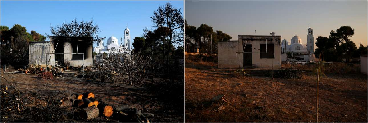Το ίδιο σπίτι στις 22 Αυγούστου 2018 μετά την πυρκαγιά και ένα χρόνο αργότερα, στις 22 Ιουλίου 2019.