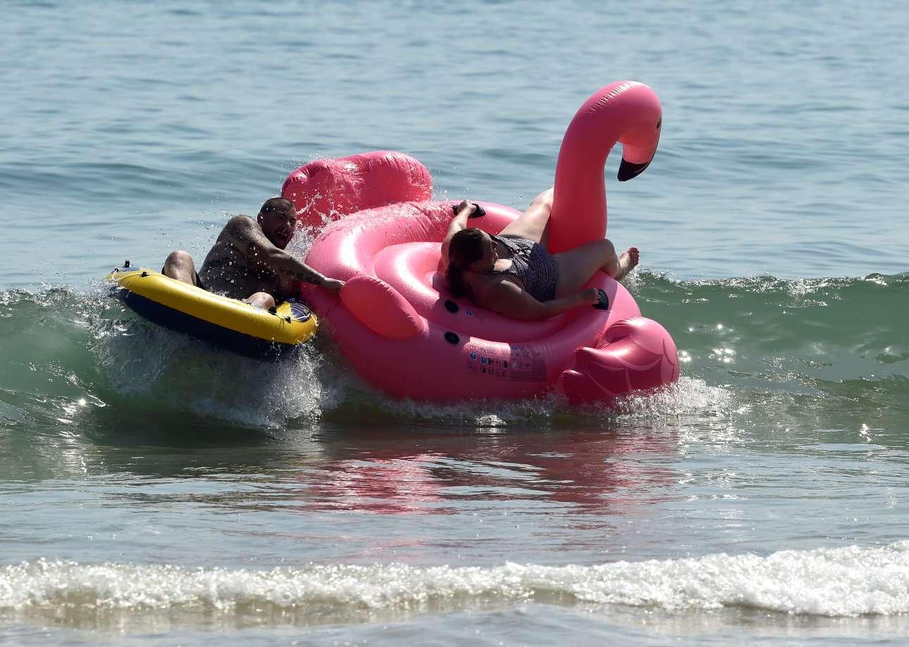 Δεν έλειψε για μια ακόμη χρονιά το γιγάντιο ροζ φλαμίνγκο, στην Ουαλία αυτή τη φορά