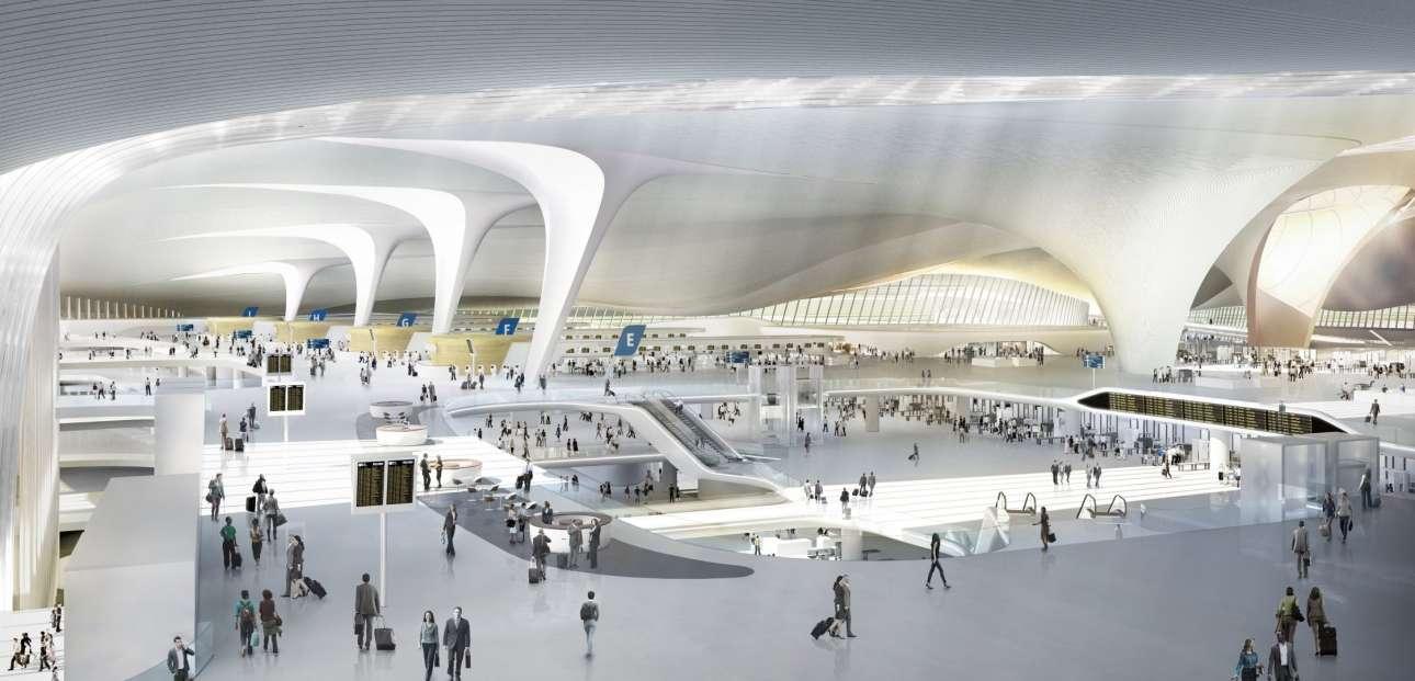 Αχανής λευκότητα: οι εσωτερικοί χώροι του αεροδρομίου όπως σχεδιάστηκαν από τους κατασκευαστές του