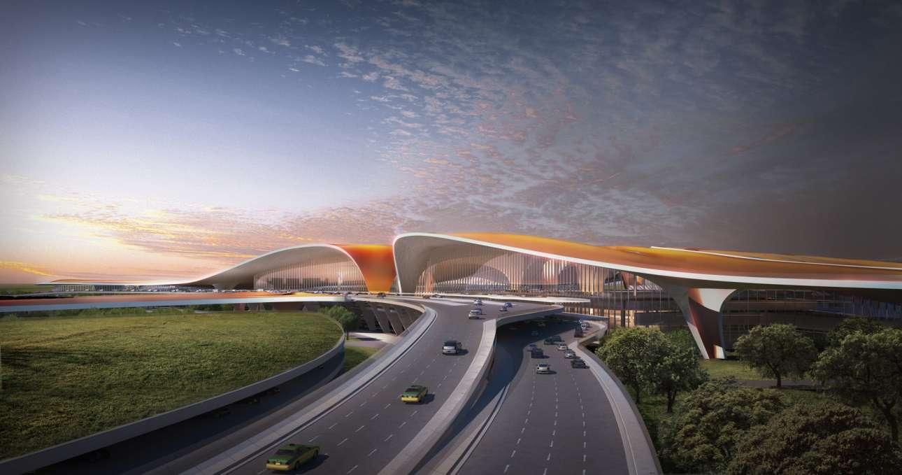Εντυπωσιακή μακέτα του πλέγματος αυτοκινητόδρομος-αεροδρόμιο-χωράφια, όλο καμπύλες και χρώματα