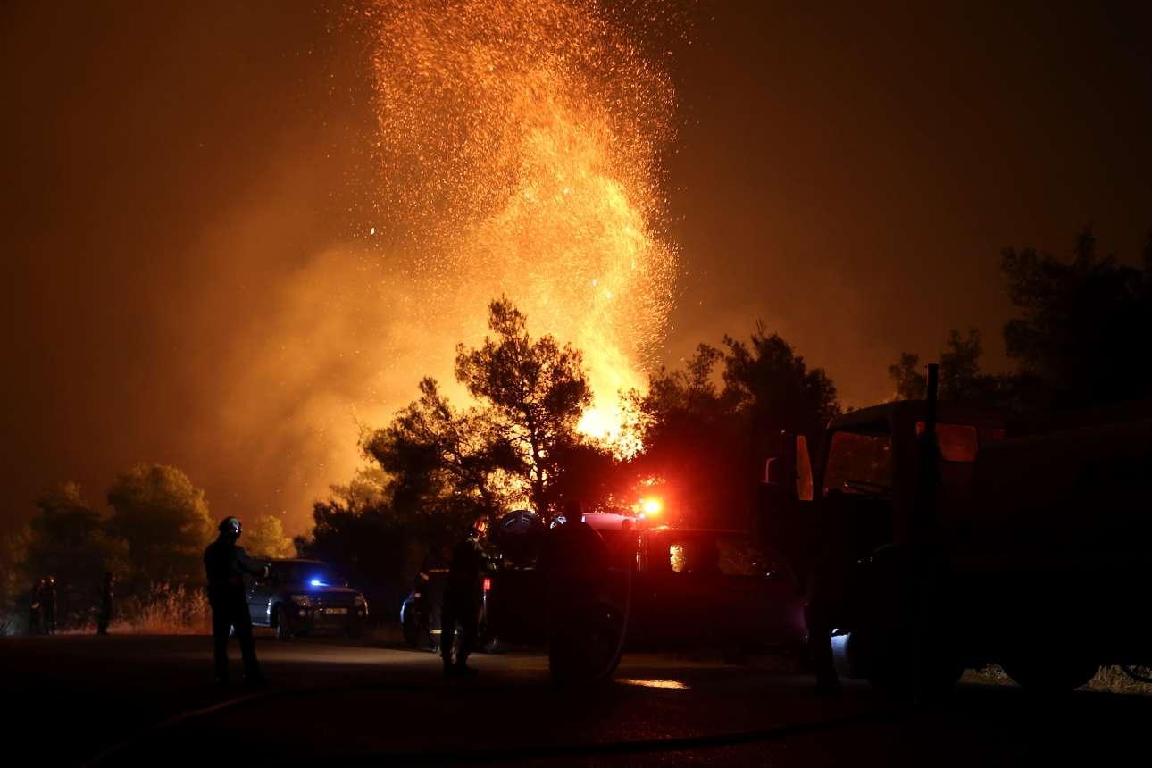 Φλόγες υψώνονται μπροστά στους πυροσβέστες στην κεντρική Εύβοια