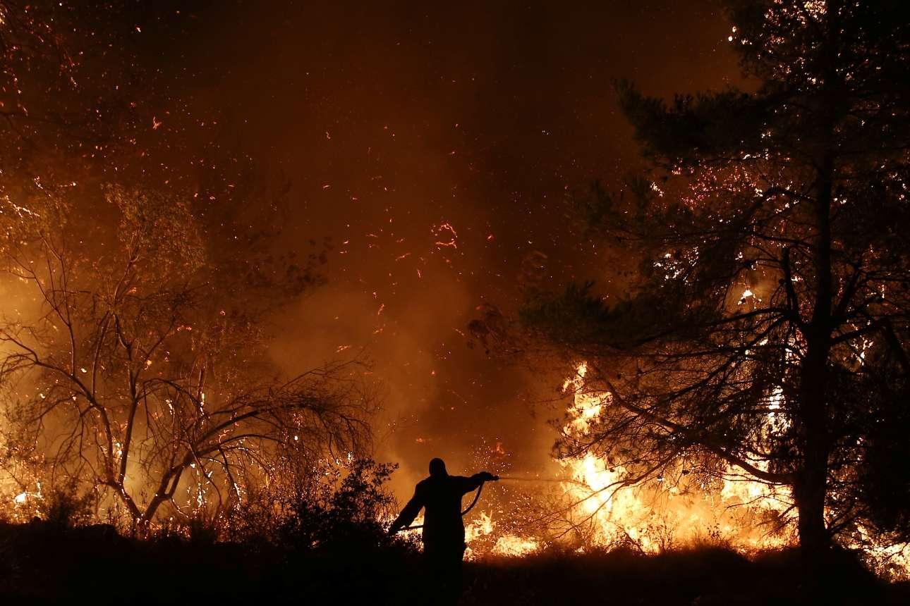 Ο άνθρωπος και η φωτιά. Μια εικόνα που αποτυπώνει το άνισο της μάχης με τις φλόγες κοντά στο χωριό Μακρυμάλλη στην Εύβοια