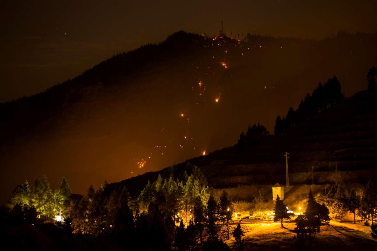 Ενα εφιαλτικό σκηνικό. Φλόγες καταστρέφουν το υπέροχο δάσος στο χωριό Βαγιεσέκο, στη Γκραν Κανάρια της Ισπανίας. Η μεγάλη πυρκαγιά στις Καναρίες Νήσους μαίνεται για μία εβδομάδα