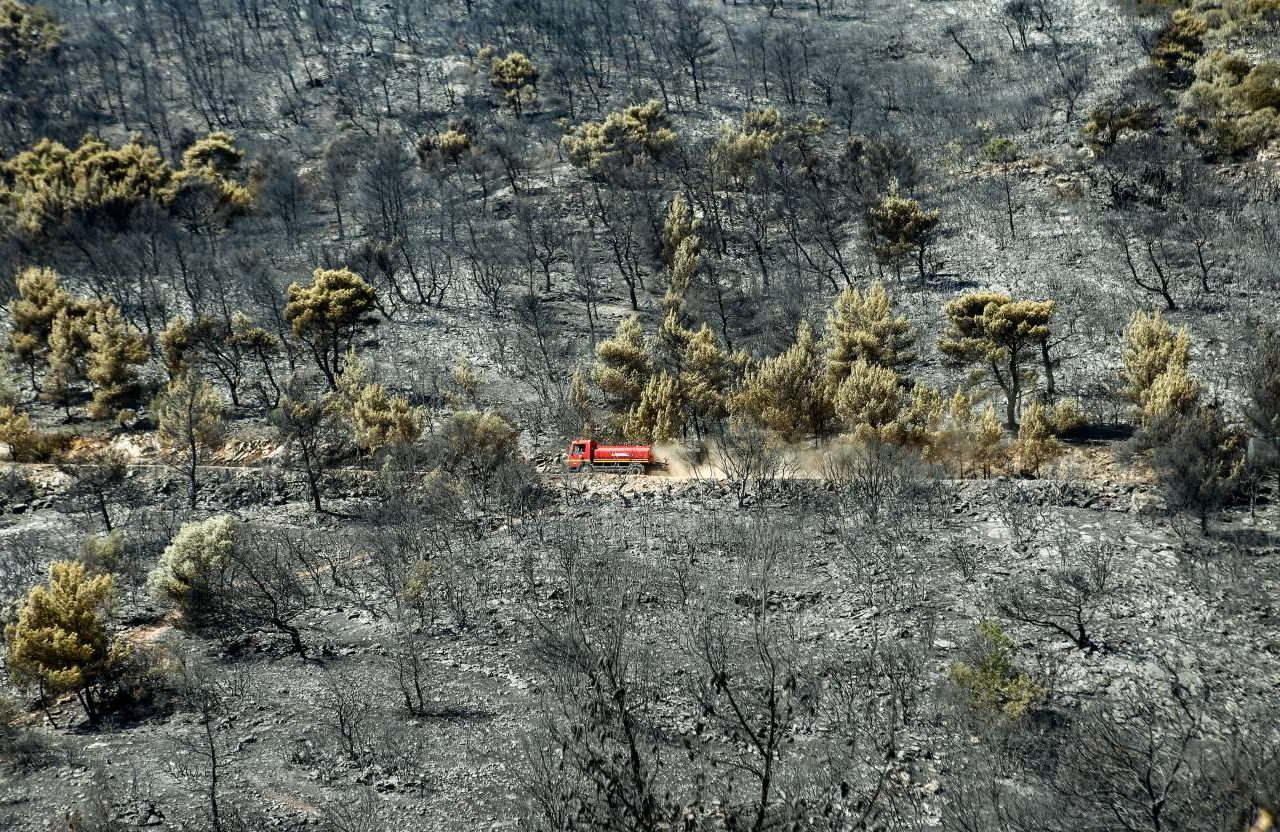 Πρωί Δευτέρας. Δεν υπάρχει πια ενεργό μέτωπο της πυρκαγιάς, αλλά οι περιπολίες για να σβηστούν τυχόν εστίες