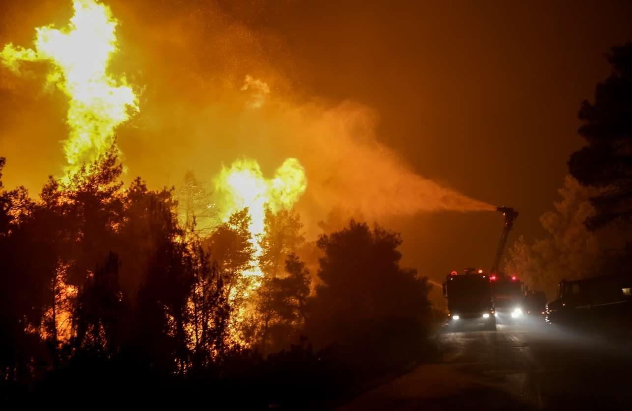 Πυροσβεστικά οχήματα ψεκάζουν με νερό τα φλεγόμενα δέντρα. Ενα παρθένο δάσος χάθηκε...