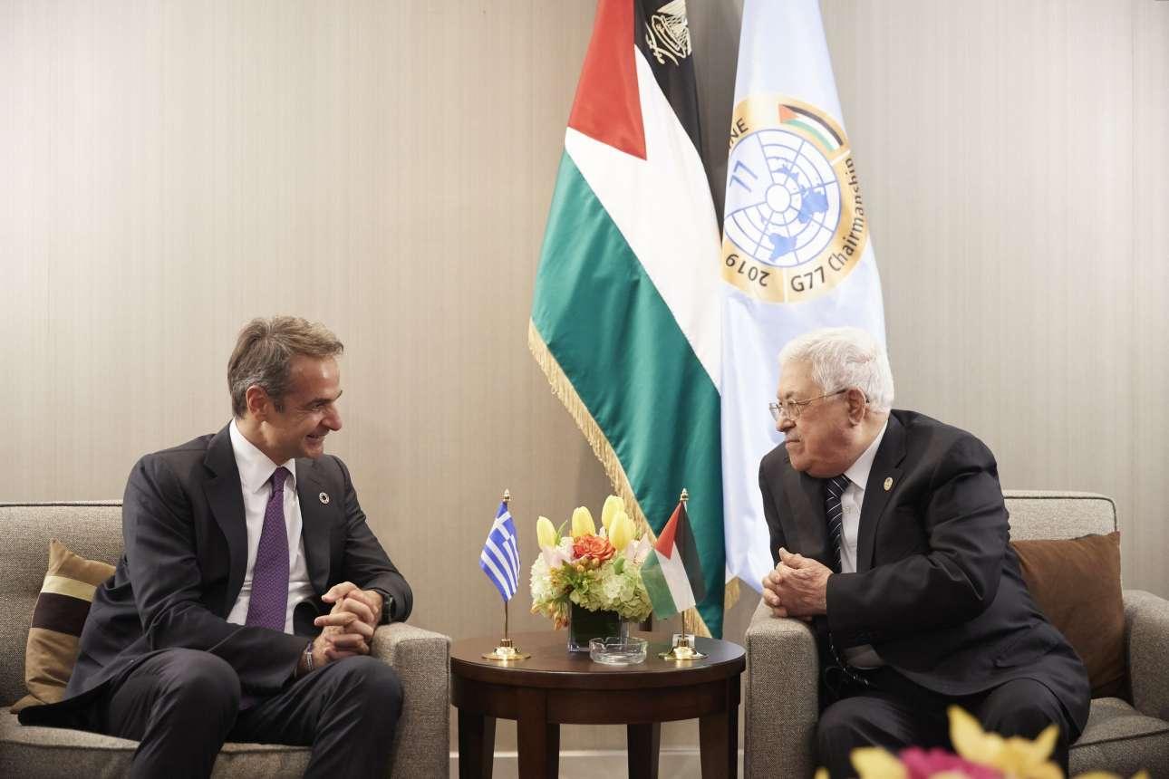 Στη συνάντηση που είχε με τον πρόεδρο των Παλαιστινίων Μαχμούντ Αμπάς τη Δευτέρα 23 Σεπτεμβρίου