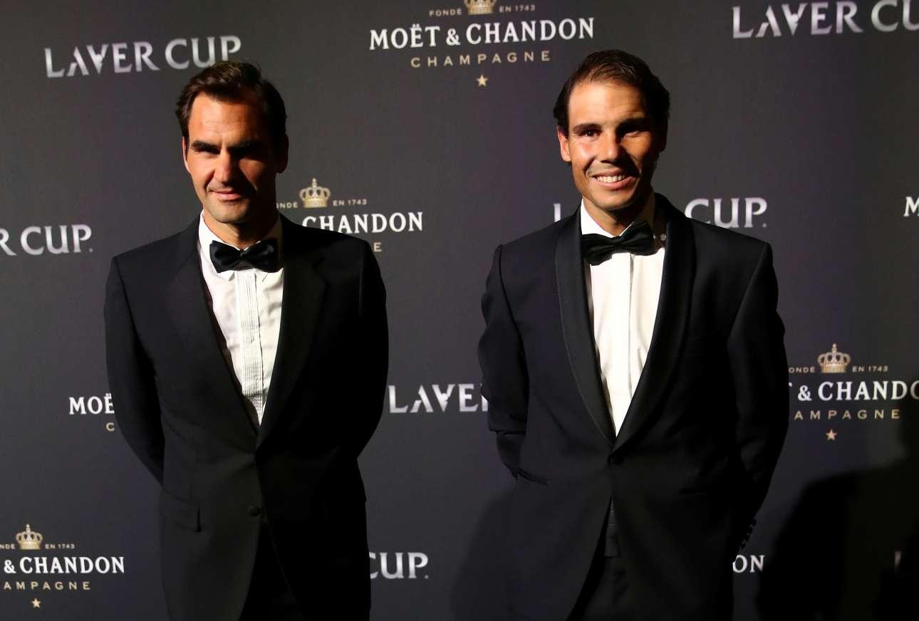 Οι διόσκουροι του σύγχρονου τένις. Ράφα Ναδάλ και Ρότζερ Φέντερερ προσέρχονται στο επίσημο γκαλά του τουρνουά Laver Cup στη Γενεύη της Ελβετίας