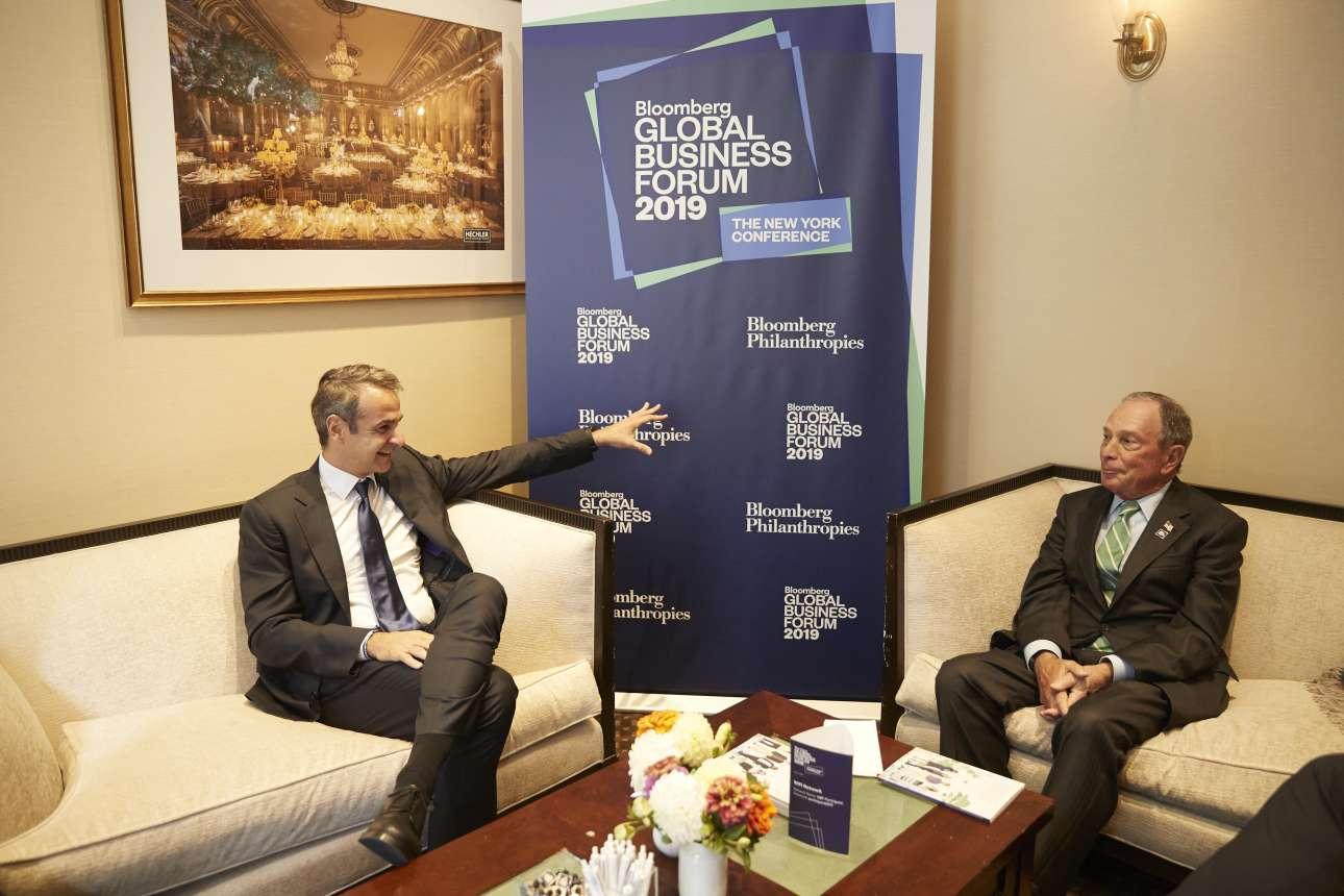 Ο Κυριάκος Μητσοτάκης στη συνάντησή του με τον μεγιστάνα πρώην δήμαρχο της Νέας Υόρκης Μάικλ Μπλούμπεργκ το απόγευμα της Τετάρτης 25 Σεπτεμβρίου
