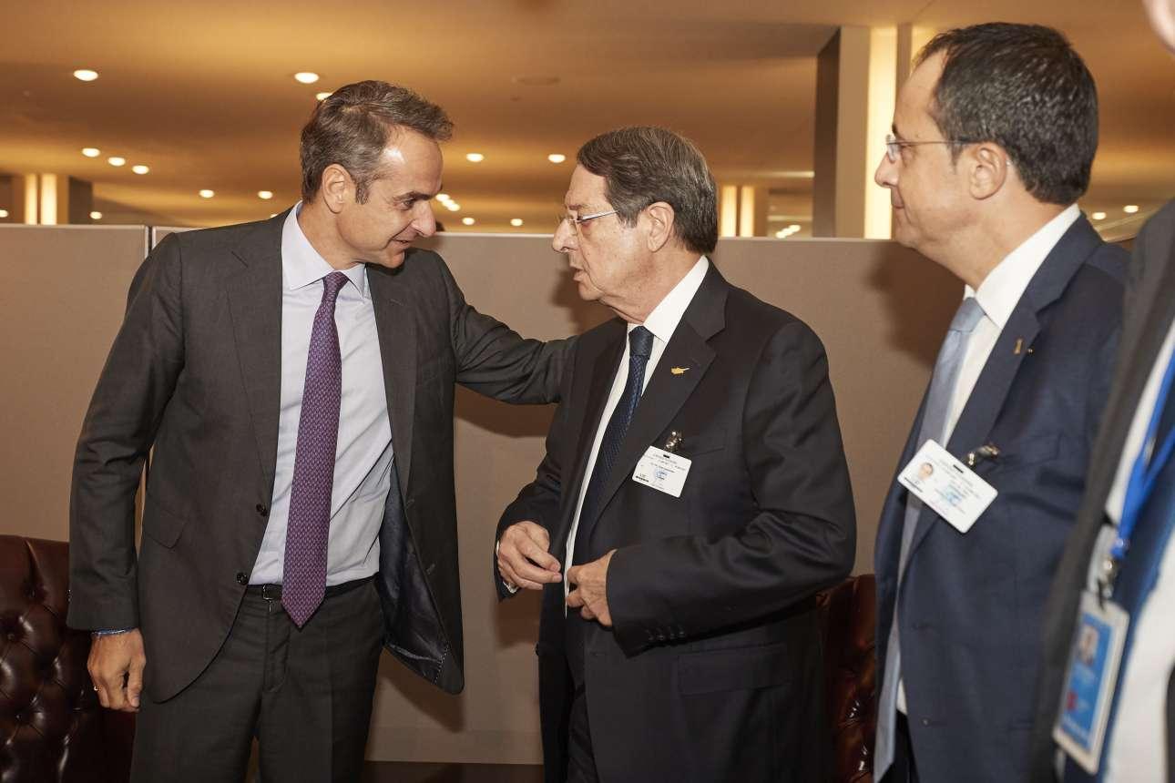Ο Κυριάκος Μητσοτάκης με τον πρόεδρο της Κύπρου Νίκο Αναστασιάδη την Πέμπτη 26 Σεπτεμβρίου