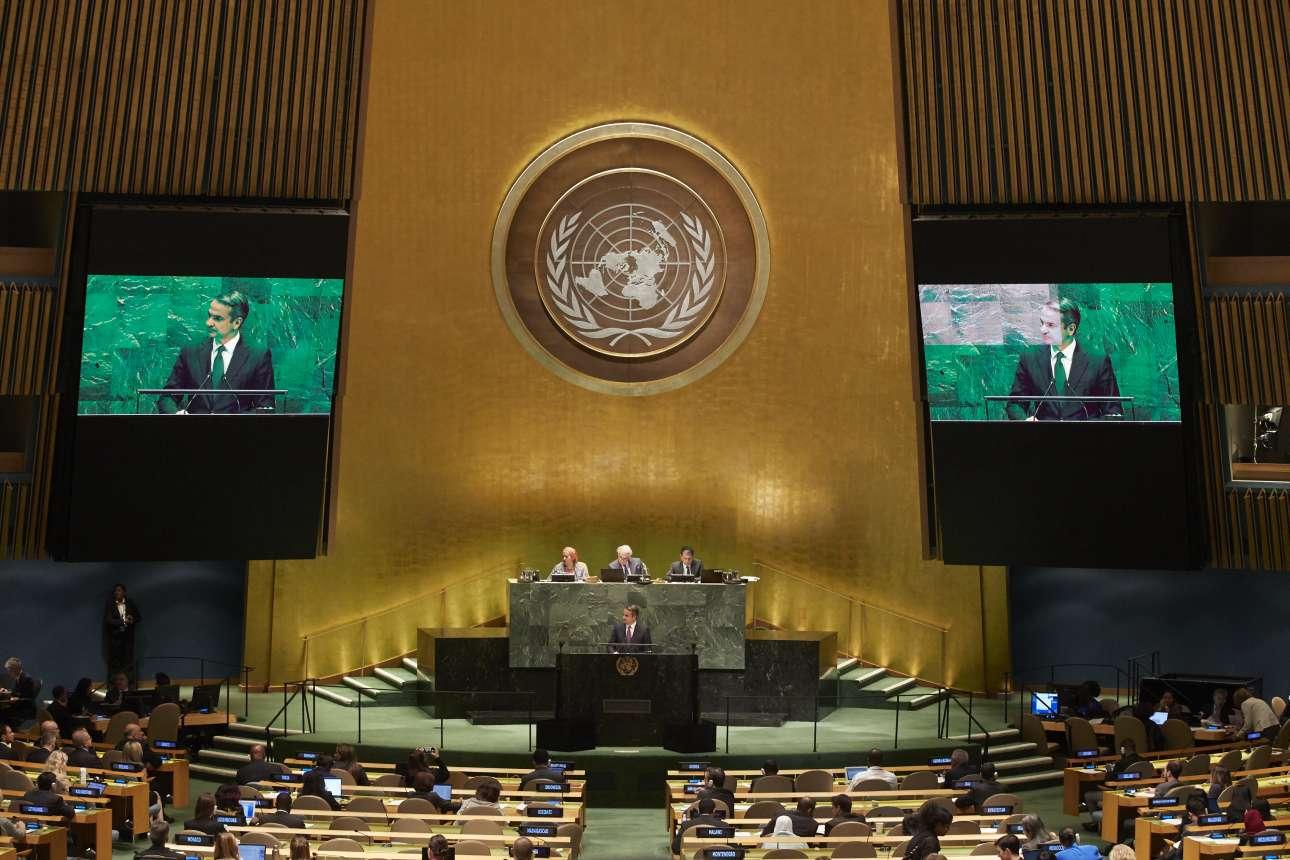 Ο Κυριάκος Μητσοτάκης στο βήμα της 74ης Γενικής Συνέλευσης των Ηνωμένων Εθνών την Παρασκευή, 27 Σεπτεμβρίου