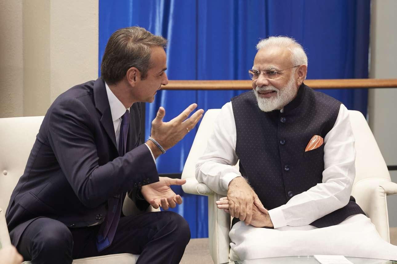 Ο Κυριάκος Μητσοτάκης στη συνάντησή του με τον ινδό ομόλογό του Ναρέντρα Μόντι