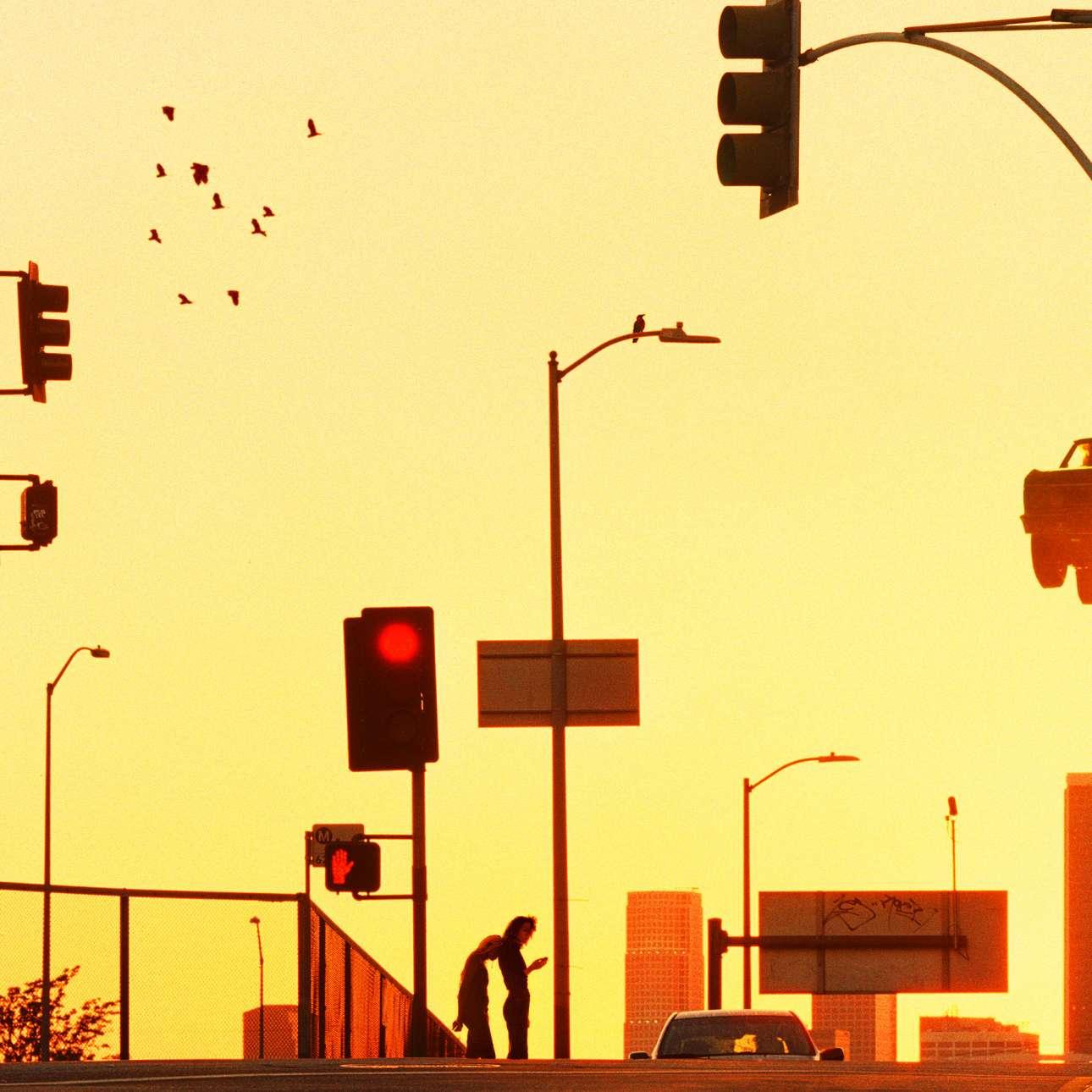 «Ακούμπησε το κεφάλι σου πάνω μου», 2019. «Μία εικόνα από Λος Αντζελες, λουσμένο σε μια λαμπερή κίτρινη, σχεδόν κόκκινη, ομίχλη. Μια φιγούρα στηρίζει το κεφάλι πάνω σε μια άλλη. Η στιγμή φαίνεται τρυφερή, αλλά δεν μπορούμε να πούμε με βεβαιότητα. Περιφράξεις, σκούρα παρμπρίζ και κρυμμένα πρόσωπα -όλα όσα εμφανίζονται συχνά σε ένα αστικό τοπίο και φαίνονται εδώ ως έντονες σιλουέτες. Η σκηνή διαδραματίζεται στα ανοιχτά, αλλά το νόημα της είναι κρυμμένο»