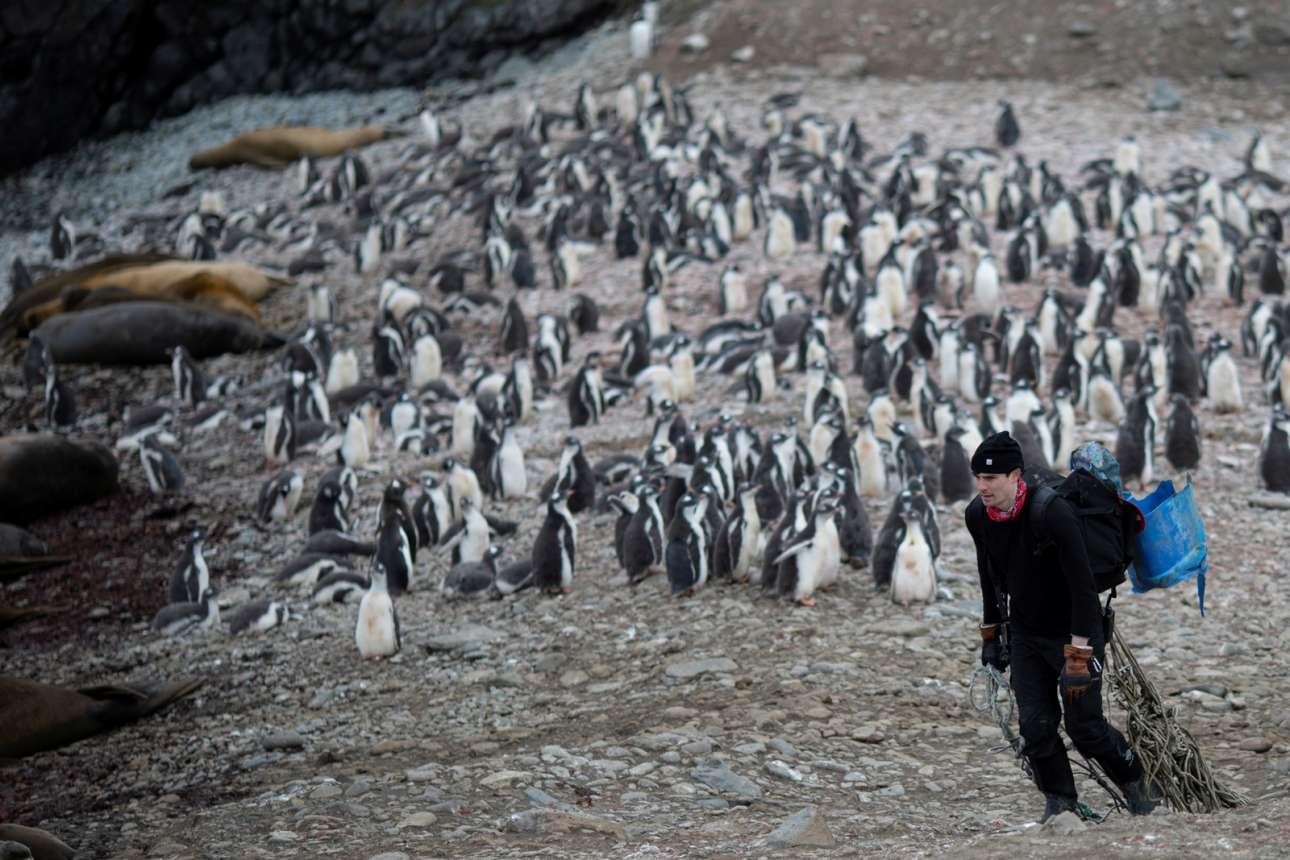 Ο Μάικλ Γουέδινγκτον, επιστήμονας και μέλος της αποστολής, μαζεύει σκουπίδια από το νησί Σνόου