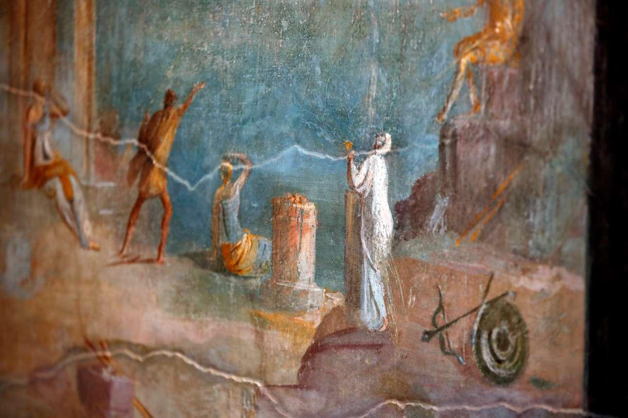 Λεπτομέρεια από τοιχογραφία στο Σπίτι του Οπωρώνα. Η οικία κοσμείται από περίτεχνες τοιχογραφίες εκπληκτικής ομορφιάς