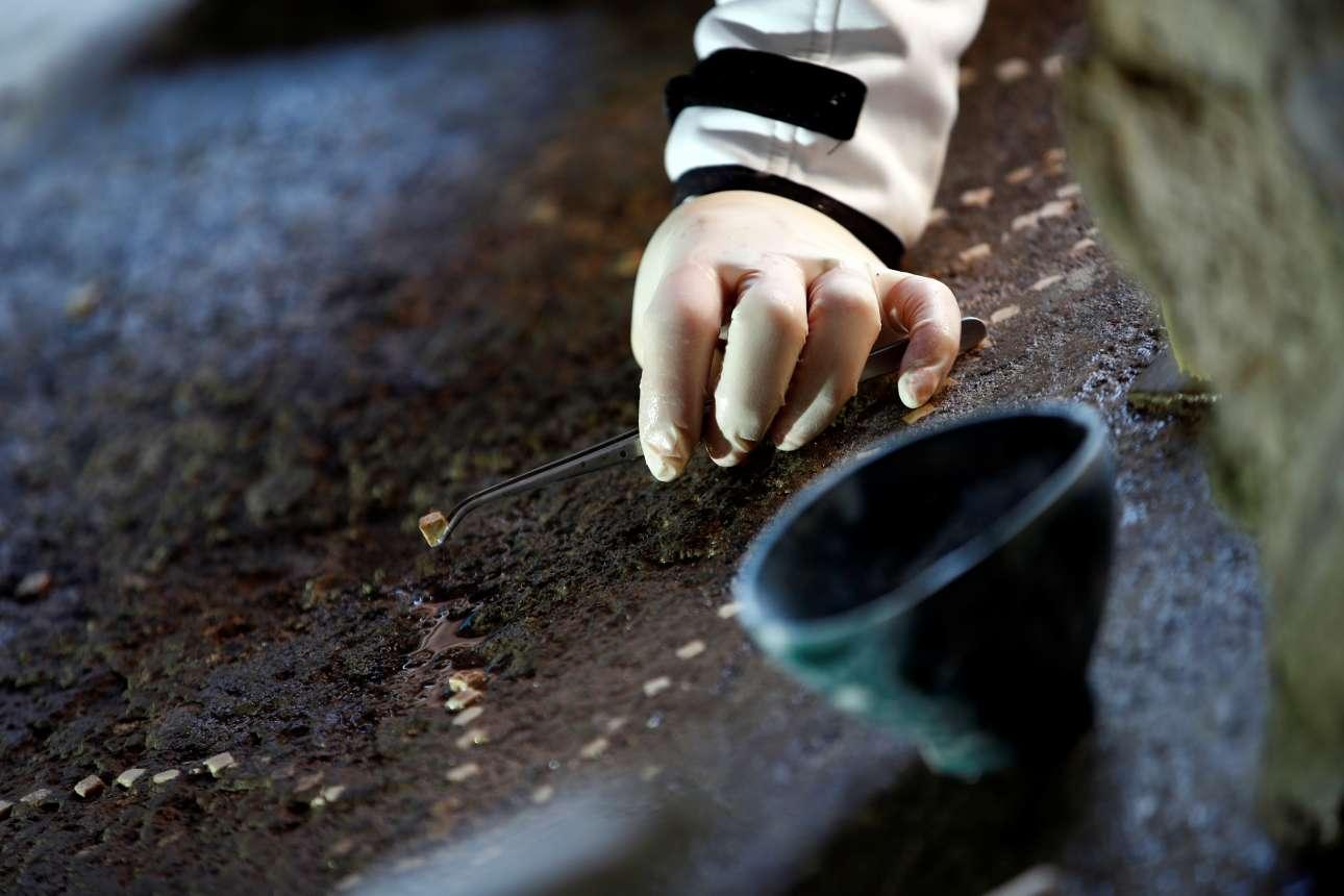 Αρχαιολόγος αποκαθιστά μωσαϊκό στο πάτωμα, στο Σπίτι των Εραστών. Η βίλα, που ανακαλύφθηκε άθικτη το 1933, έκλεισε το 1980 έπειτα από ζημιές που προκλήθηκαν από σεισμό