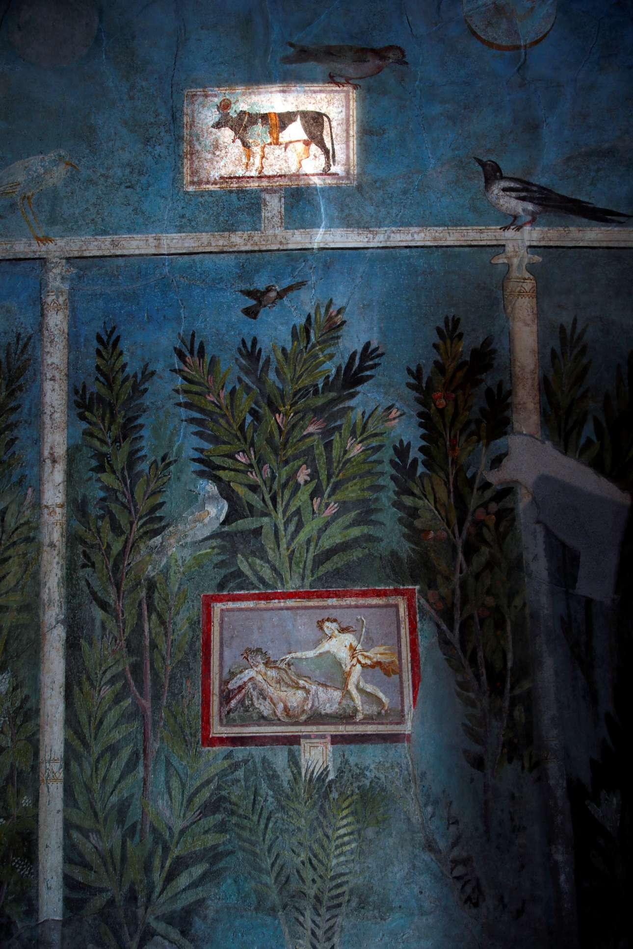 Μία από τις υπέροχες τοιχογραφίες στο Σπίτι του Οπωρώνα