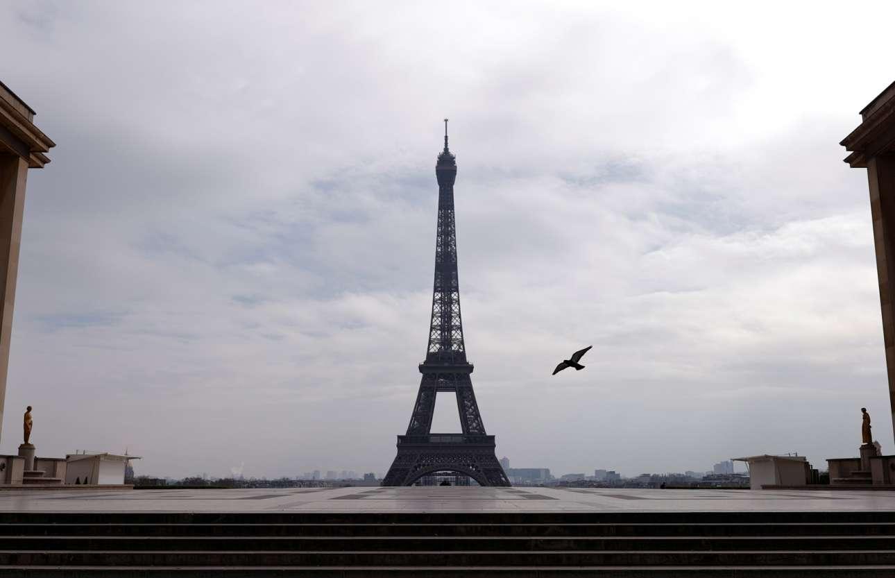 Μόνον ένα πουλί πετάει πάνω από το Τροκαντερό και τον πύργο του Άιφελ σε μία δυσοίωνη εικόνα από το Παρίσι