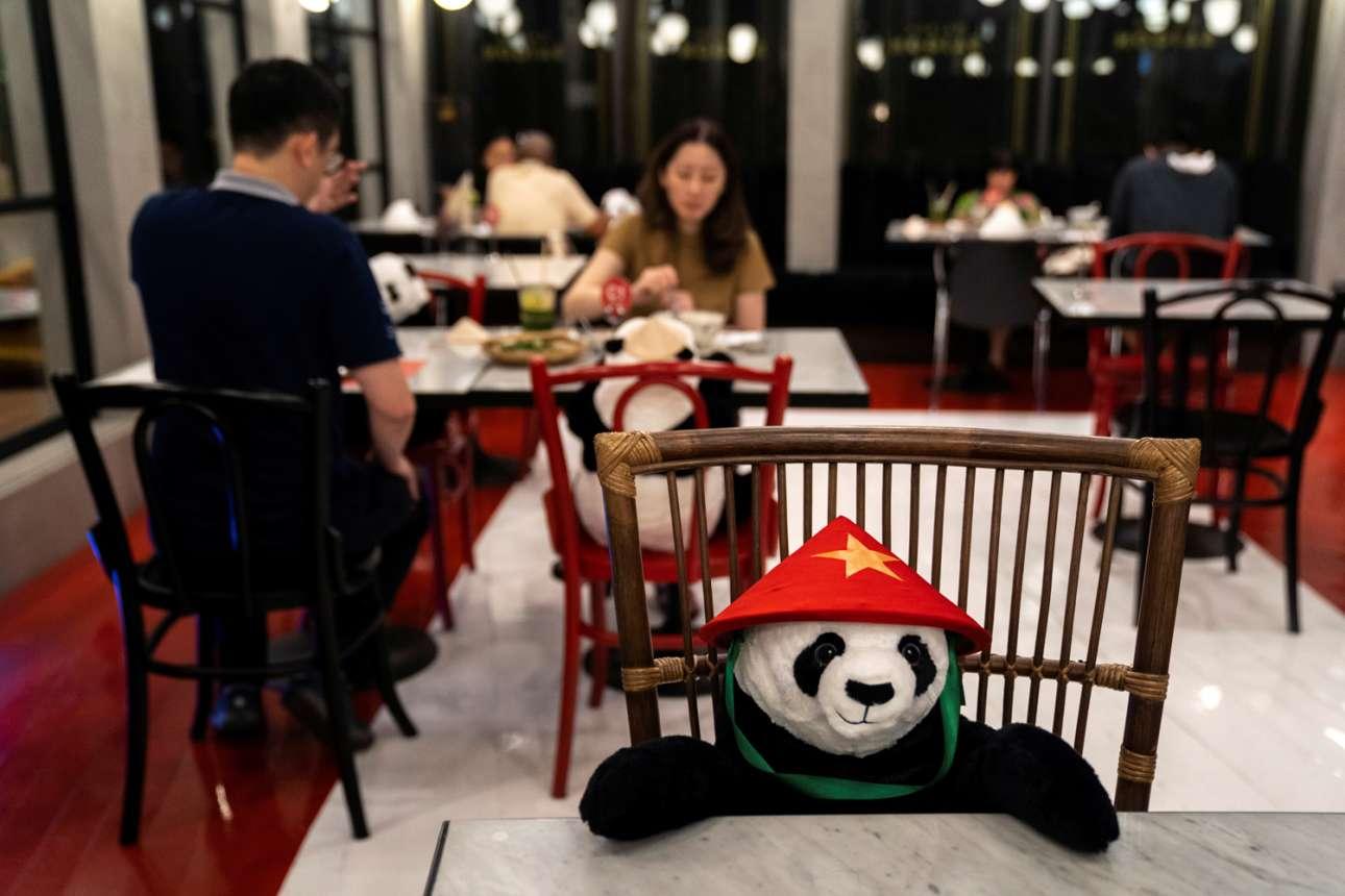 Ευφάνταστη ιδέα σε εστιατόριο της Μπανγκόκ: λούτρινα πάντα «φυλάσσουν» τις καρέκλες που πρέπει να μείνουν άδειες