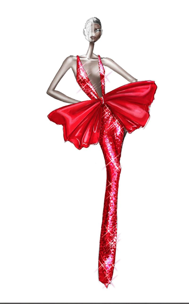 Κόκκινη ολόσωμη φόρμα με παγιέτες και ένας τεράστιος φιόγκος στη μέση: ένα εντυπωσιακό κομμάτι από τον οίκο Ralph & Russo με έντονες αναφορές στη Τζέσικα Ράμπιτ και στις δημιουργίες του Yves Saint Laurent της δεκαετίας του 80