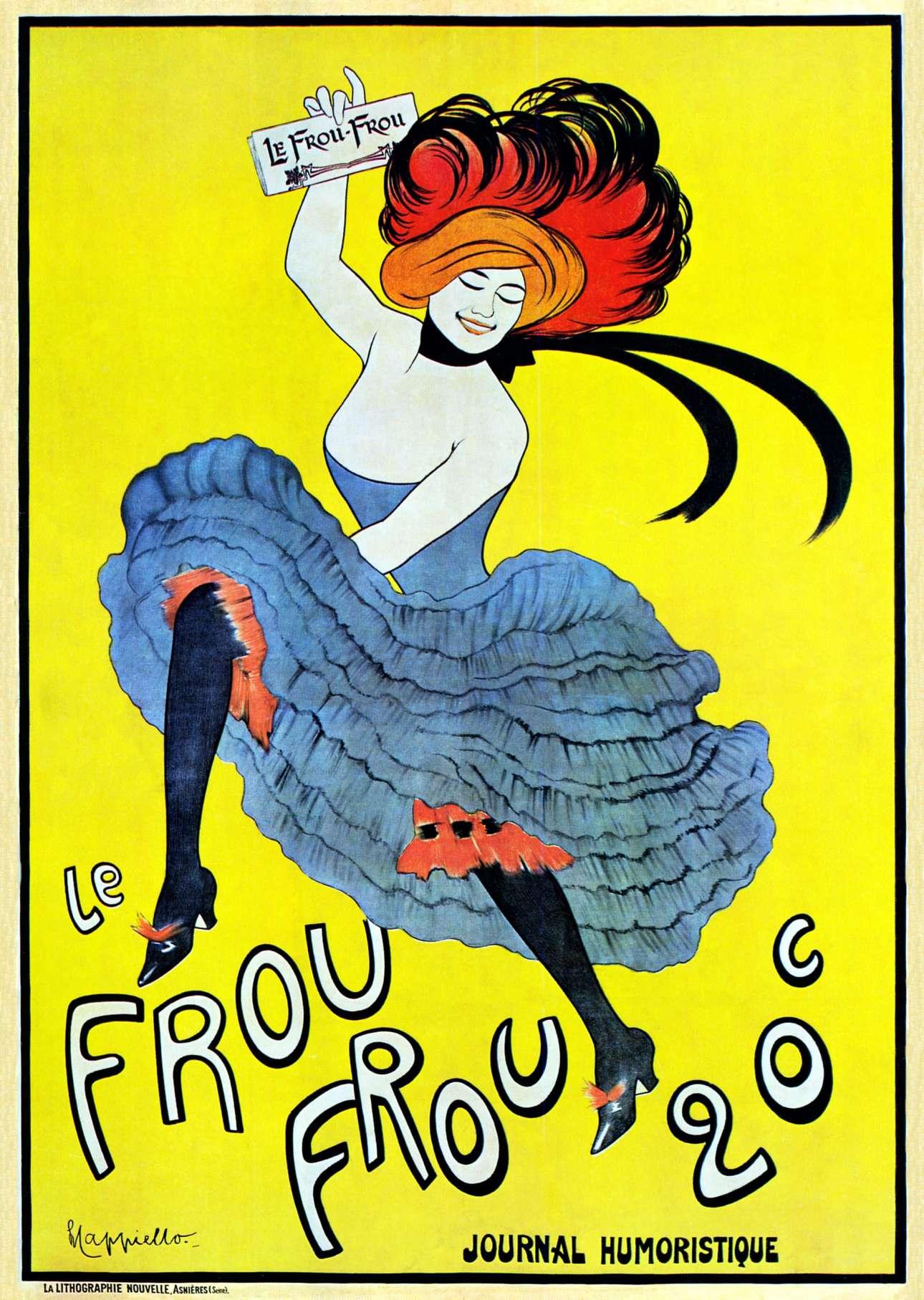 Οι μοντέρνες διαφημιστικές τεχνικές που αναπτύχθηκαν στα τέλη του 1890 χρησιμοποιούσαν την τέχνη για να πουλήσουν προϊόντα. Χαρακτηριστική του είδους είναι η παραπάνω αφίσα, σχεδιασμένη από τον Λεονέτο Καπιέλο το 1899 για το γαλλικό περιοδικό Le Frou Frou