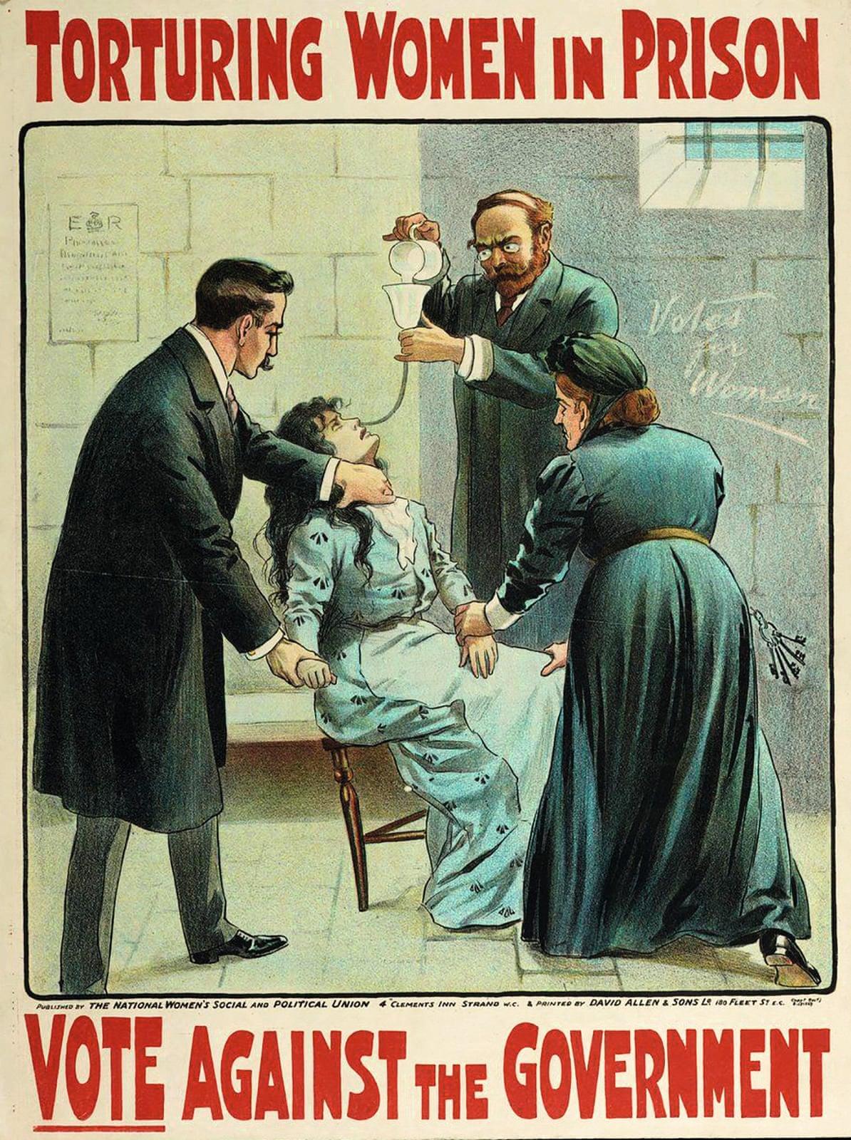 Το Γυναικείο Κίνημα των Σουφραζετών στο Ηνωμένο Βασίλειο χρησιμοποιούσε αφίσες για πολιτικούς σκοπούς, όπως το παραπάνω παράδειγμα του 1907, που δείχνει την αναγκαστική σίτιση γυναικών στη φυλακή επειδή απαιτούσαν το δικαίωμα στην ψήφο κάνοντας απεργία πείνας