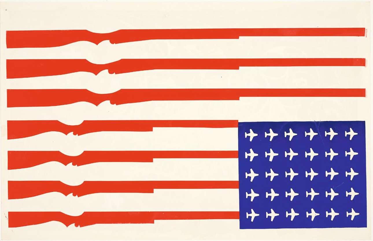 Αυτή η αφίσα ενός ανώνυμου καλλιτέχνη αποτύπωσε τον θυμό απέναντι στον πόλεμο του Βιετνάμ, στις αρχές της δεκαετίας του 1970. Η αναποδογυρισμένη αμερικανική σημαία, με τουφέκια αντί για ρίγες και αεροπλάνα στη θέση των αστεριών, ήταν μια αναφορά στις εκατομμύρια βόμβες που έπεσαν στη χώρα κατά τη διάρκεια του πολέμου