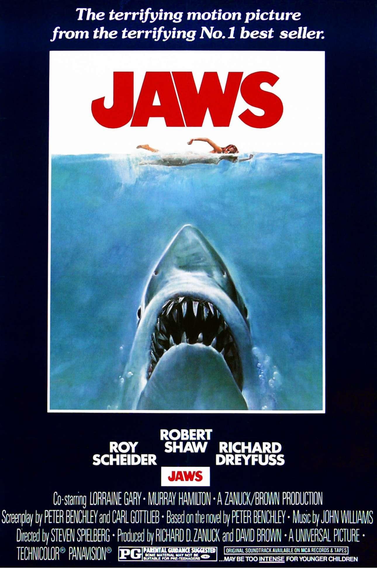Η διάσημη αφίσα για την ταινία «Jaws» («Τα σαγόνια του καρχαρία») του 1975 θεωρείται μία από τις πιο επιδραστικές αφίσες, είναι άμεσα αναγνωρίσιμη, ενώ αντιγράφηκε και παραποιήθηκε πολλές φορές