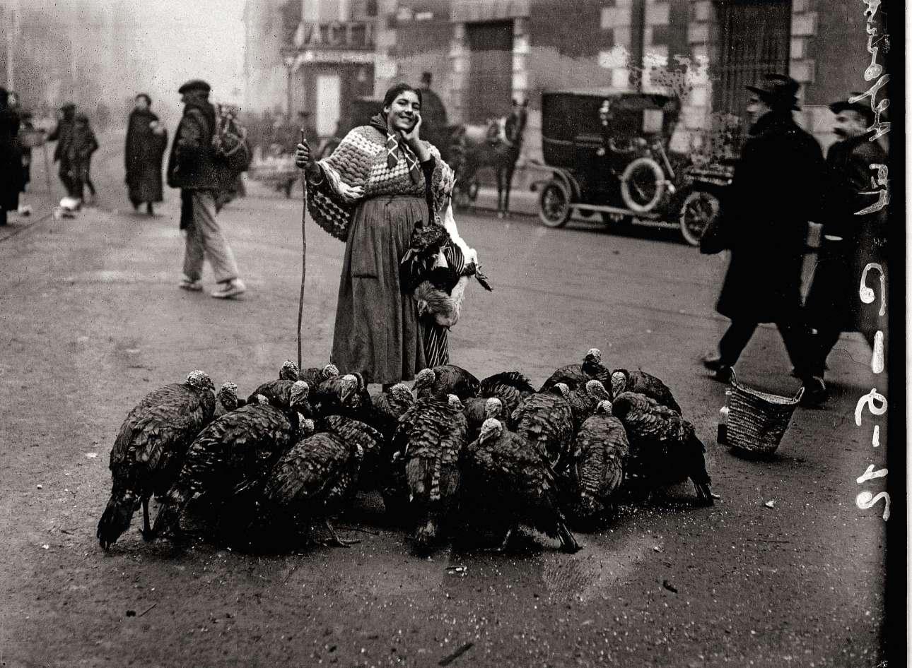Γυναίκα πουλάει γαλοπούλες στην πλατεία Σάντα Κρουθ, το 1925. Καθώς η τεχνολογία προχωρούσε, οι πρώτοι φωτορεπόρτερ της Μαδρίτης, όπως ο Αλφόνσο, είχαν την ευκαιρία να συλλάβουν τη ζωή και την ατμόσφαιρα που επικρατούσε στους δρόμους της πόλης