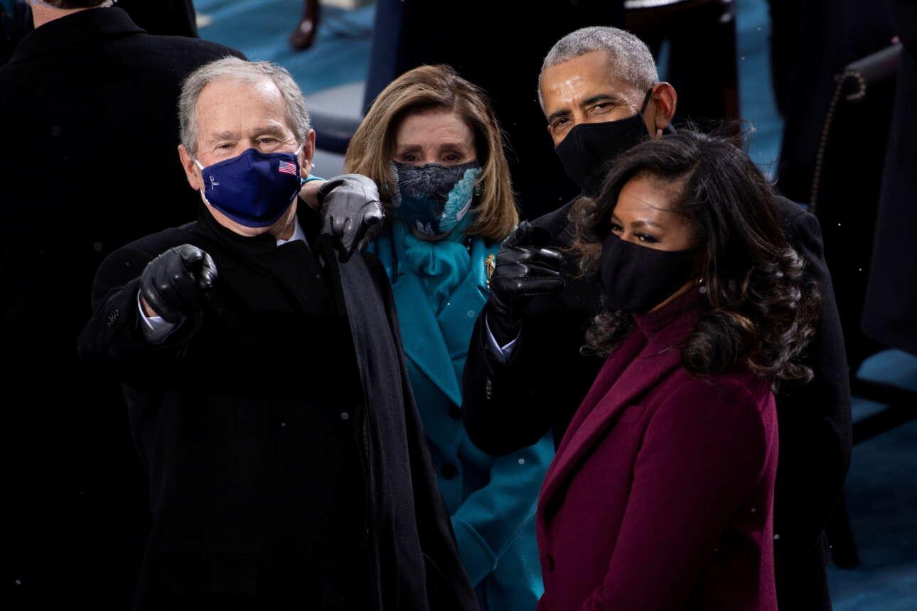 Πολιτικός πόλιτισμός, η Αμερική ενωμένη: Τζορτζ Μπους, Νάνσι Πελόζι, Μπαράκ Ομπάμα και Μισέλ Ομπάμα απολαμβάνουν την ορκωμοσία
