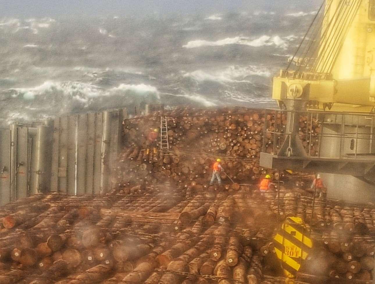 Επικό καρέ από τη μάχη του ανθρώπου με τη θάλασσα. Φουρτούνα έπειτα από σαράντα ημέρες στο νερό, μέσα σε απόλυτο lockdown, με ρότα για την Κίνα από την Αργεντινή και με δύσκολο φορτίο, ξυλείας. Πολλές ζημιές εξαιτίας της κακοκαιρίας, αλλά και πολύ σθένος