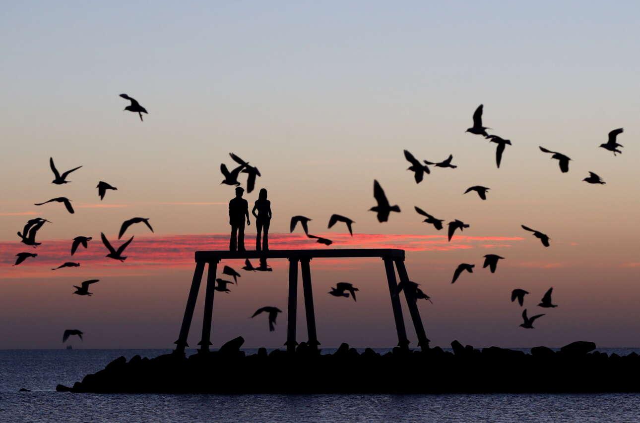 Ξημέρωμα στη βρετανική ακτή, με θαλασσοπούλια, ήσυχα νερά και μία σύνθεση γλυπτικής που τιτλοφορείται «Ζευγάρι» (άνδρας και γυναίκα δείχνουν) να ατενίζει τη θάλασσα