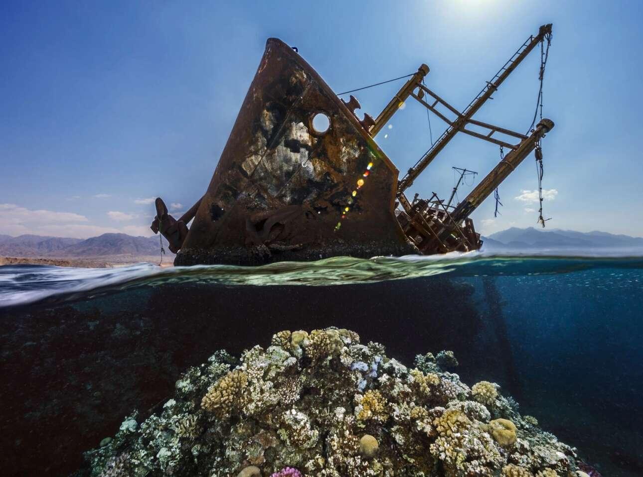 Το 1978 το ελληνόκτητο φορτηγό πλοίο Georgios G εξόκειλε σε ένα ρηχό κοραλλιογενή ύφαλο στον Κόλπο της Ακαμπα στην Ερυθρά Θάλασσα. Το ατύχημα έγινε βράδυ και ξέσπασε μεγάλη πυρκαγιά στο πλοίο που βρίσκεται το μισό έξω από το νερό και το άλλο μισό μέσα έχοντας μετατραπεί σε έναν τεχνητό ύφαλο όπου διαβιώνουν πολλοί θαλάσσιοι οργανισμοί. Η φωτογραφία που πήρε την τρίτη θέση στην κατηγορία «Ναυάγια» ονομάστηκε «Χρυσή Ώρα στο Georgios G»